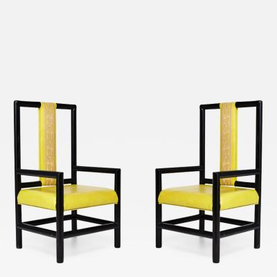 Kelly Wearstler Pair of Kelly Wearstler High Back Chairs
