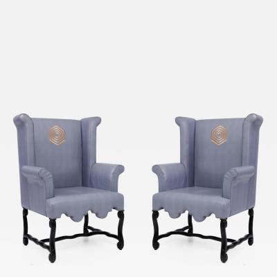 Kelly Wearstler Pair of Kelly Wearstler Wingback Chairs