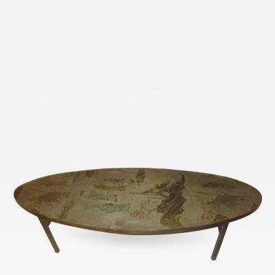 Kelvin Laverne Philip and Kelvin LaVerne Signed Patinated Bronze Oblong Coffee Table