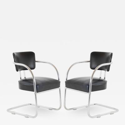 Kem Weber Art Deco Accent Chairs in Black by Kem Weber for Lloyd Pair