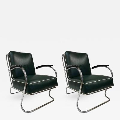 Kem Weber Pair of KEM Weber for Lloyd Tubular Chrome Lounge Chairs
