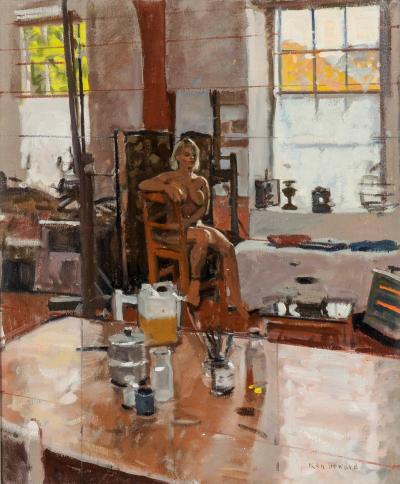 Ken Howard Modern Painting of Female Nude in Artists Studio by Ken Howard