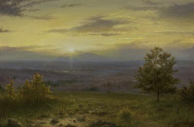 Ken Salaz Sunset over Hudson Valley from Wings Castle Vineyards