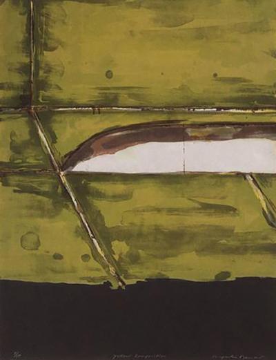 Kenjilo Nanao Mid Century Abstract Expressionist Monoprint Yellow Composition by Kenjilo Nanao