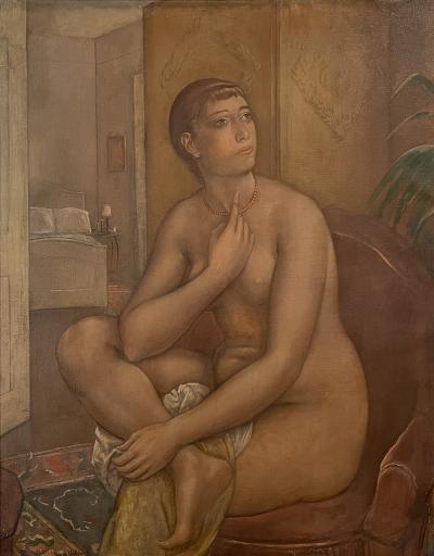 Kenneth Hayes Miller he Coral Necklace Figure Composition Nude fantasizing in a chair