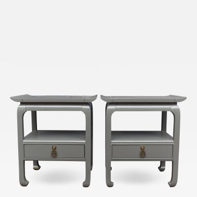 Kent Coffey Hollywood Regency Lacquered Nightstands