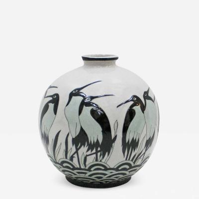 Keralouve Ovoid Shape Porcelain Belgian Signed Vase In Art Deco Style