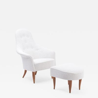 Kerstin H rlin Holmquist Large Adam Reupholstered Lounge Chair with Ottoman by Kerstin H rlin Holmquist