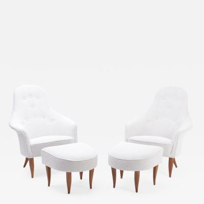 Kerstin H rlin Holmquist Pair of Reupholstered Lounge Chairs with Ottoman by Kerstin H rlin Holmquist
