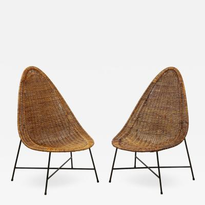 Kerstin H rlin Holmquist Pair of rattan and iron chairs