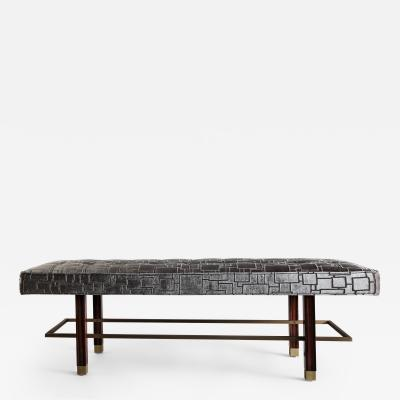 Keywest Bench in Natural Macassar and Upholstered Seat