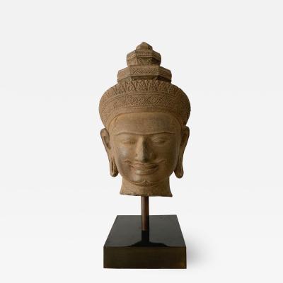 Khmer Sandstone Carving of Vishnu Cambodia