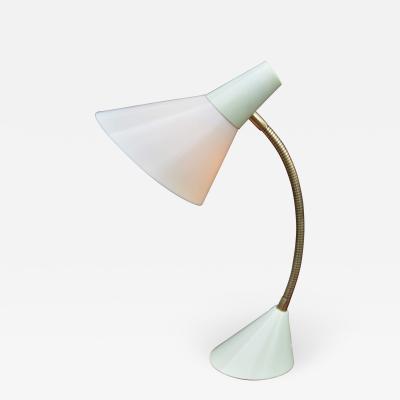 Killer Atomic 1950s Mint Condition Gooseneck Lamp in Light Green Cream
