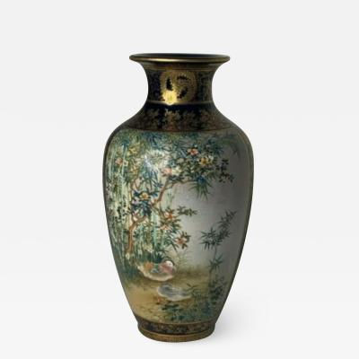 Kinkozan Satsuma pottery vase Japanese Meiji Period Ca 1880 double stamped