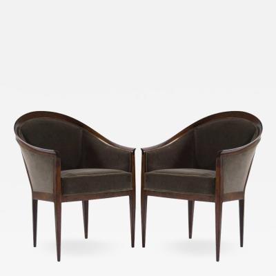 Kipp Stewart Kipp Stewart for Directional Walnut Frame Lounge Chairs