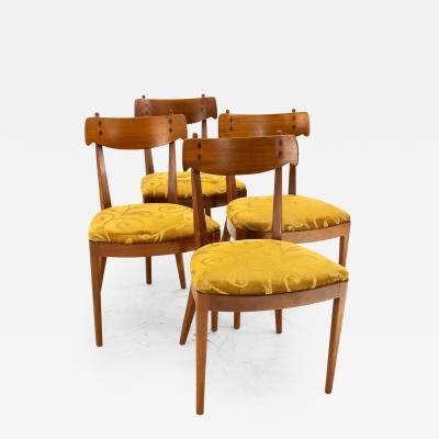 Kipp Stewart for Drexel Mid Century Walnut Dining Chairs Set of 4
