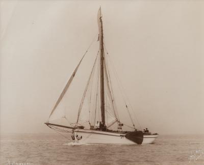 Kirk Sons An original print of the Dutch sailing yacht Verona Signed Kirk Cowes