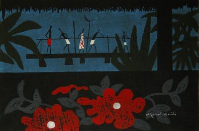 Kiyoshi Saito Kiyoshi Saito Framed Woodblock Print Tahiti C 45 80 1971
