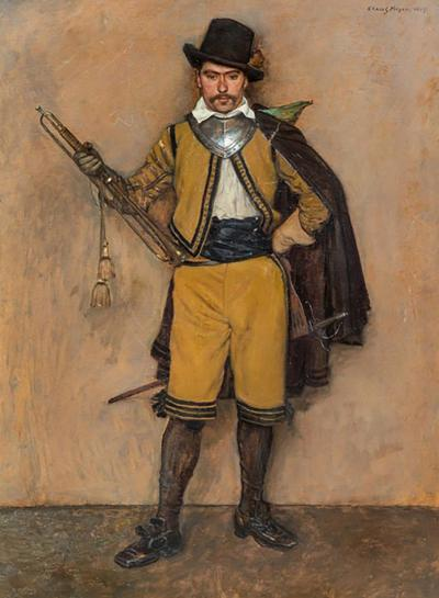 Klaus Clausmeyer 1907 Oil Painting of a Soldier