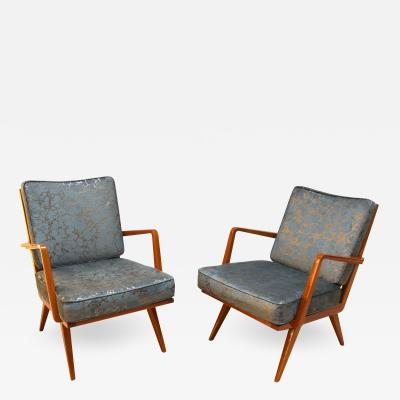 Knoll Midcentury Armchairs Cherry Wood Blue Silver Fabric