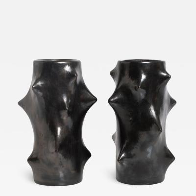 Knud Basse PAIR OF ROSE THORN VASES BLACK BY KNUD BASSE matched