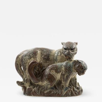 Knud Kyhn KNUD KYHN FOR ROYAL COPENHAGEN PANTHER WITH CUB
