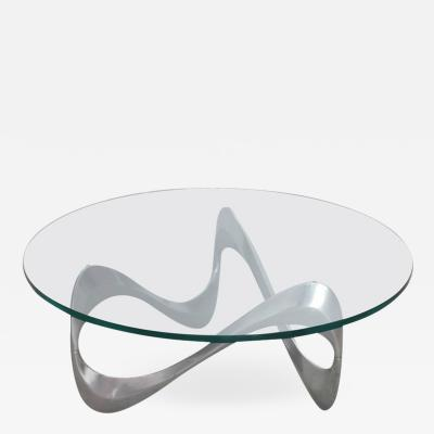Knut Hesterberg Aluminum and Glass Snake Coffee Table by Knut Hesterberg for Ronald Schmitt