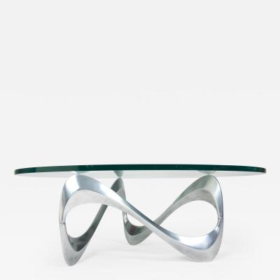 Knut Hesterberg Knut Hesterberg Aluminum and Glass Snake Coffee Table by Ronald Schmitt 1960s