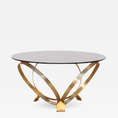 Knut Hesterberg Round Brass Geometric Rings Coffee Table with Glass Top