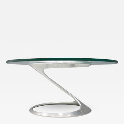 Knut Hesterberg SCULPTURAL COFFEE TABLE IN GLASS AND ALUMINUM BY KNUT HESTERBERG 1974