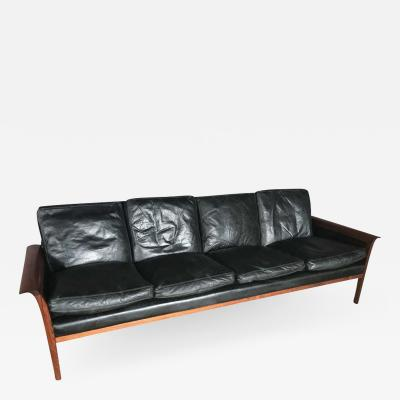 Knut S ter Knut Saeter for Vatne Mobler Leather and Rosewood Four Seater Sofa
