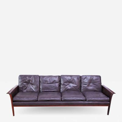 Knut S ter Leather and Rosewood Sofa Designed by Knut S ter for Vatne M bler