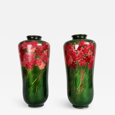 Kodenji Hayashi A delightful pair of Japanese Cloisonne vases by the Hayashi workshop