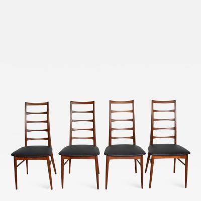 Koefoeds Hornslet Set of 4 Danish Modern Teak Ladder Back Niels Koefoeds Dining Chairs Hornslet