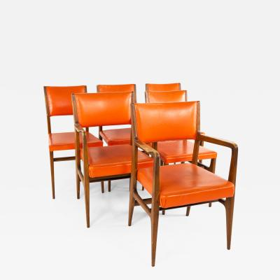 Kofod Larsen for Selig Style Mid Century Walnut Dining Chairs Set of 6