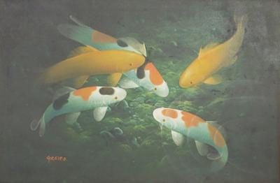 Koi Fish Pond Oil Painting on Canvas