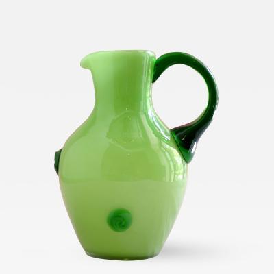 Koloman Moser Cased Green Glass Pitcher designed by Koloman Moser for Loetz
