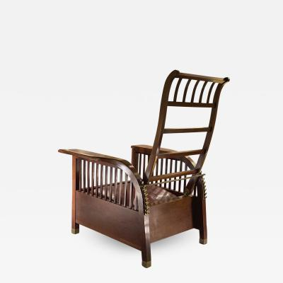 Koloman Moser Koloman Moser attributed adjustable solid mahogany lounge chair