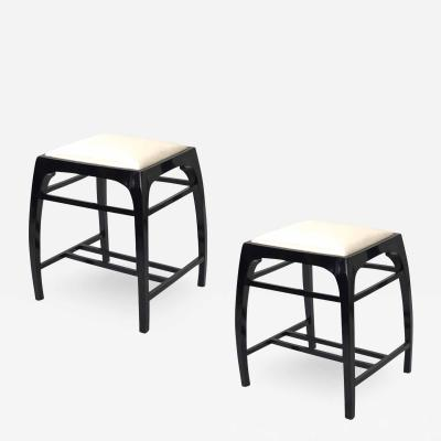 Koloman Moser koloman moser pair of black lacquered stools newly covered in silk