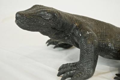 Komodo Dragon Sculpture in Enameled Metal