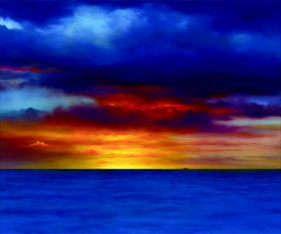 Kona Sunset Contemporary Giclee Print by Dario Campanile