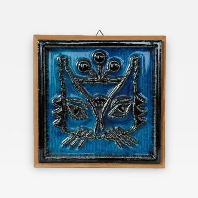 Konrad Galaaen Blue Cat Tile Wall Relief Plate by Konrad Galaaen for Porsgrund Norway