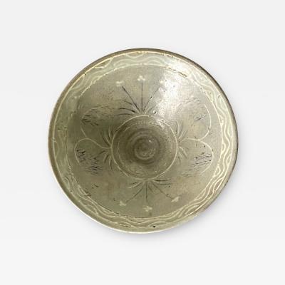 Korean Ceramic Tea Bowl with Slip Inlays Goryeo Dynasty