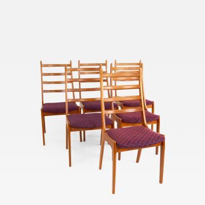 Korup Stolefabrik Mid Century Teak High Ladderback Dining Chairs Set of 6