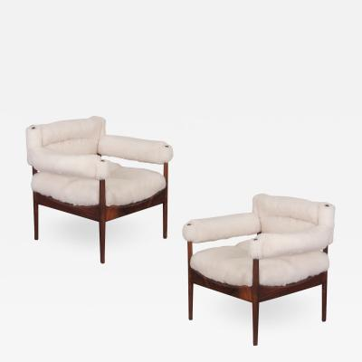 Kristian Solmer Vedel Pair of Kristian Vedel Sheepskin Modus Lounge Chairs