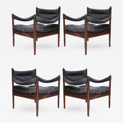 Kristian Solmer Vedel Set of Four Kristian Solmer Vedel Modus Rosewood Lounge Chairs