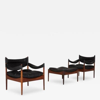 Kristian Solmer Vedel Set of Modus Leather Lounge Chairs and Ottoman by Kristian Solmer Vedel