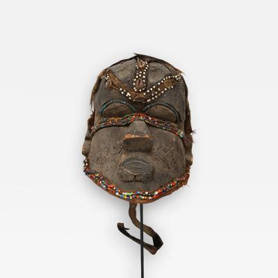 Kuba Mask African Bwoom Tribal Congo in Wood vibrates vegetables animal hair