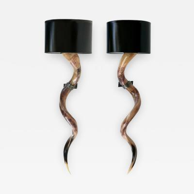 Kudu Antelope Horns Mounted as Sconces from South Africa Late 20th Century
