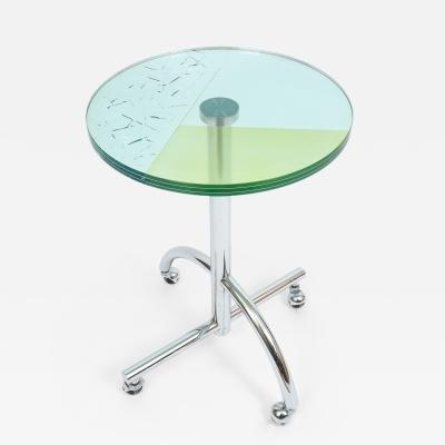 Kuramata Shiro Round Rolling Glass Table Sally for Memphis 1987